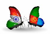 Two Butterflies With Flags On Wings As Symbol Of Relations India And Eritrea