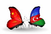 Two Butterflies With Flags On Wings As Symbol Of Relations China And Azerbaijan