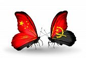 Two Butterflies With Flags On Wings As Symbol Of Relations China And Angola