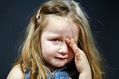 Crying Blond Little Girl With Focus On Her Tears