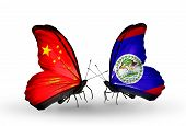 Two Butterflies With Flags On Wings As Symbol Of Relations China And  Belize