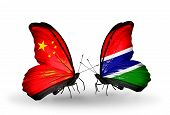 Two Butterflies With Flags On Wings As Symbol Of Relations China And Gambia