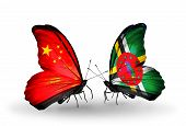 Two Butterflies With Flags On Wings As Symbol Of Relations China And Dominica
