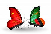 Two Butterflies With Flags On Wings As Symbol Of Relations China And Zambia