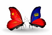 Two Butterflies With Flags On Wings As Symbol Of Relations China And Liechtenstein