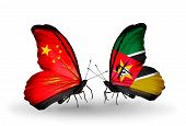 Two Butterflies With Flags On Wings As Symbol Of Relations China And Mozambique