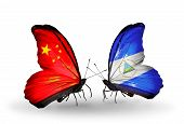 Two Butterflies With Flags On Wings As Symbol Of Relations China And Nicaragua