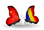 Two Butterflies With Flags On Wings As Symbol Of Relations China And Chad, Romania
