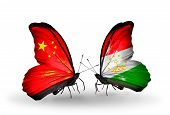 Two Butterflies With Flags On Wings As Symbol Of Relations China And Tajikistan