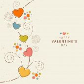 foto of corazon  - Beautiful greeting card decorated by colorful hearts and floral design for Happy Valentine - JPG
