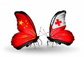 Two Butterflies With Flags On Wings As Symbol Of Relations China And Tonga