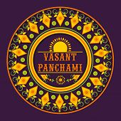 Beautiful floral decorated rangoli for Happy Vasant Panchami celebration.