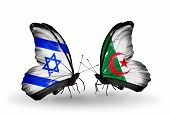 Two Butterflies With Flags On Wings As Symbol Of Relations Israel And Algeria