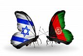 Two Butterflies With Flags On Wings As Symbol Of Relations Israel And Afghanistan