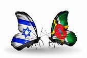 Two Butterflies With Flags On Wings As Symbol Of Relations Israel And Dominica