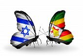 Two Butterflies With Flags On Wings As Symbol Of Relations Israel And Zimbabwe