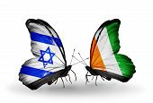 Two Butterflies With Flags On Wings As Symbol Of Relations Israel And Cote Divoire