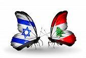Two Butterflies With Flags On Wings As Symbol Of Relations Israel And  Lebanon
