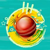 Glossy red ball in fire with wicket stumps for Cricket on stylish colorful background.