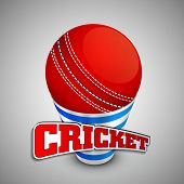 Red cricket ball on a shiny disposable glass with text Cricket on grey background.