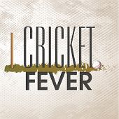 Cricket Fever poster or banner design with wicket stumps and ball on grey background.