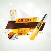 stock photo of cricket ball  - Cricket Cup 2015 concept with bat - JPG