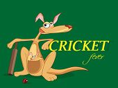 Cartoon of kangaroo and its baby with bat and ball on green background for Cricket Fever.