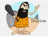 Cartoon of a caveman holding club with text Bring it On for cricket concept.