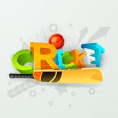 stock photo of cricket ball  - Colorful 3D text Cricket with bat and red ball on stylish grey background - JPG