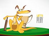 Cute cartoon of kangaroo and its baby with bat and winning trophy for Cricket.