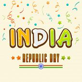 Happy Indian Republic Day celebration greeting card design with national tricolor text India and Ashoka Wheel on colorful ribbons decorated background.