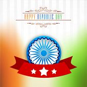 picture of ashoka  - Elegant greeting card design with 3D Ashoka Wheel and national flag colors for Happy Indian Republic Day celebration - JPG