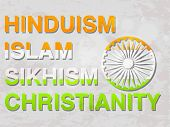 Democratic India poster or banner design with different religion name painted in national tricolor with Ashoka Wheel for Indian Republic Day celebration.