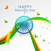 Indian Republic Day celebrations greeting card design with shiny Ashoka Wheel, butterflies and colorful waves on grey background.