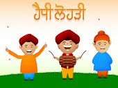 Cute little boys dancing while playing drum on occasion of Happy Lohri, Punjabi community festival celebration with Punjabi text (Happy Lohri).