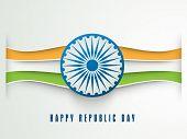 pic of ashoka  - Creative national flag color stripes with Ashoka Wheel for Happy Indian Republic Day celebration - JPG
