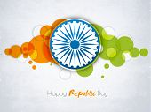 Happy Indian Republic Day celebration sticker or label with Ashoka Wheel on national flag color abstract background.