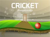 Glossy red ball and wicket stumps in stadium for Cricket Championship.