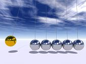 Concept or conceptual 3D metal silver and gold creative sphere Newton cradle pendulum over a sky background