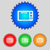 Microwave Oven Sign Icon. Kitchen Electric Stove Symbol. Set Colourful Buttons. Vector