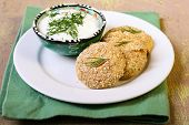 Bran Breaded Cottage Cheese Cakes