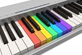 pic of rainbow piano  - Rainbow piano keyboard isolated over white background - JPG