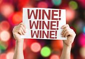 Wine card with colorful background with defocused lights