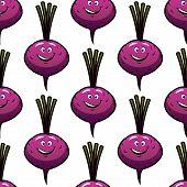 Seamless smiling cartoon beet background