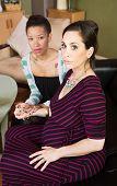 Nervous Lesbian Pregnant Couple