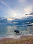 Long tailed boat Ruea Hang Yao in Koh Samui Thailand at sunset