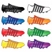 Football Cleats With Stripes In Different Colours Pencil Style