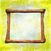 Decorative Frame, Sculpture In The Form Of An Ancient Scroll On Background Old Cracked Walls Of The