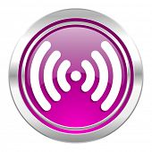 wifi violet icon wireless network sign