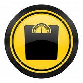 weight icon, yellow logo,
